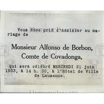 1933 Press Photo Invitation to wedding of Prince of Austrias to Spain's ES Ocejo