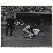 1963 Press Photo Frank Bolling slides in with first run of game in first inning