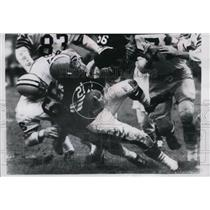 1961 Press Photo Tom Watkins of the Browns went no place in tray at middle line.