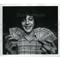 1977 Press Photo Bob Meier Sells Blazer Tickets through College - ora64415