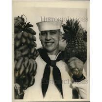 1928 Press Photo John J Vogel fireman of USN on USS Memphis in Guam