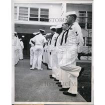 1959 Press Photo US Sailors at Dallas Texas inspection by an officer