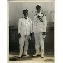 1928 Press Photo USS Texas Adm GF Hyde of Australia & Rear Adm HV Nutler
