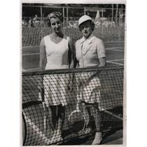 1937 Press Photo Mary Hardwick &  Freda James UK Wightman Cup tennis in NY
