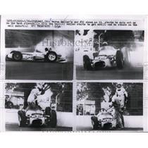 1933 Press Photo Wayne Weiler car spins & crashes at Indianapolis speedway
