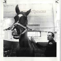 1984 Press Photo Mounted Patrolman Jerry Lasch brushes him before sending