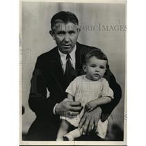 1932 Press Photo Bo McMilliam Kansas State football coach & his son Jere