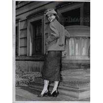 1956 Press Photo Three piece suit dress & coat on a fashion model  - nee89737