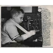 1954 Press Photo Blind Johnny Fearon world' youngest amateur Radio Operators