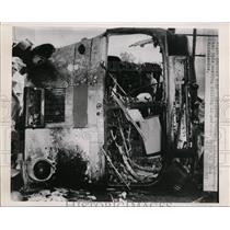 1949 Press Photo Remains of bus after accident - nef00292