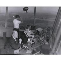 1961 Press Photo People working at Spokane Airport Control Tower - spa22003