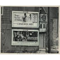 1988 Press Photo Inner City billboards, many hawking cigarets or liquor