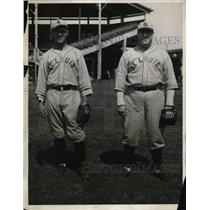 1931 Press Photo St Louis Browns Pete Leingang & George Lamate at training