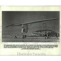1979 Press Photo Pedal powered plane makes a test run at Long Beach, Ca