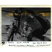 1988 Press Photo A helicopter and pilots who rescued a man from a cliff