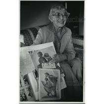 1978 Press Photo Betty Allison displayed Norman Rockwell magazine covers