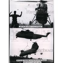 1969 Press Photo Helicopters practicing battlefield situations in Vietnam