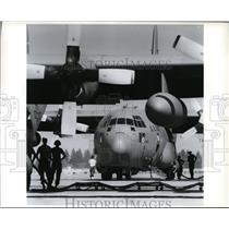 1994 Press Photo Two C-130 cargo planes are serviced at Geiger Field - spa22946