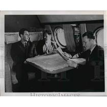 1958 Press Photo These three men are in one of compartment of TU-104 twin engine