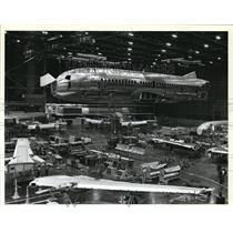 1983 Press Photo First Boing 737-300 gets ready for wing fitting at Renton Wash.