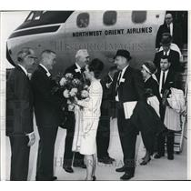 1965 Press Photo first flight arriving at new Spokane International Airport