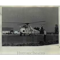 1973 Press Photo U.S. Airforce rescue helicopter stimulates emergency flight