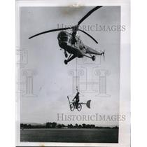 1954 Press Photo Flying Bike at Charity Air Show Sussex England