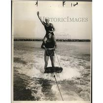 1929 Press Photo Johnny Weismiller & Helen Meany Olympic Aquatic Championship
