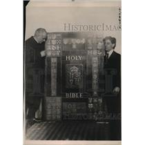 1922 Press Photo A Giant Bible five feet high, completely written by hand