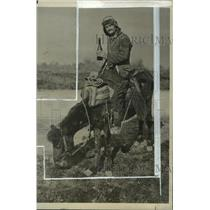 1927 Press Photo Donkey & master on a donkey in Tirana, Albania  - mja05091