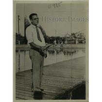 1932 Press Photo Dr. George Adami fishing - mja02415