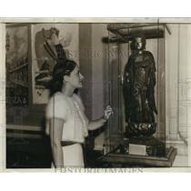 1938 Press Photo The Kenosha public museum is displaying this antique Buddha