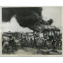 1933 Press Photo Anti-aircraft drills held by reservists in Akasuka, Japan