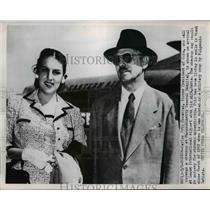 1953 Press Photo Cuban President Carlos Prio Socarras & Wife Maria in Boston