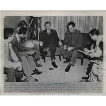 1952 Press Photo Carlos Prio Socarras, Aureliano Arrango in Press Conference