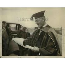 1929 Press Photo U.S. Navy Secretary Curtis D. Wilbur at Pennsylvania College