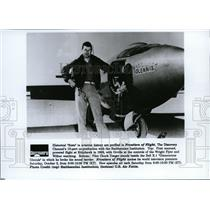 1992 Press Photo Pilot Chuck Yeager Beside Bell X-1 - spp01068