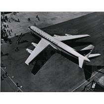 1958 Press Photo Douglas DC8 wheeled out of the hangar for ground tests