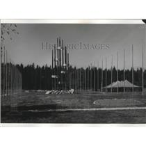 1969 Press Photo Avenue of Flags in Jamboree Center Tower of Friendship
