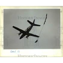 1963 Press Photo Parachute streaming, Sherrill King, training plane.
