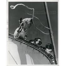 1964 Press Photo Passengers wave from deck of President Cleveland - orb67715