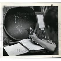 1969 Press Photo Light Gun is used to enter new targets into computer/radar