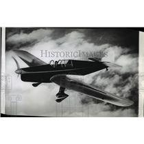 1937 Press Photo Charles Lindbergh flies from Reading England in new plane