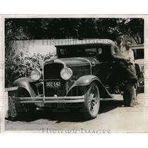 1932 Press Photo Calvin Jiones, Pete Crawford & car head to Indianapolis 500