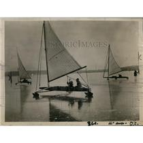 1921 Press Photo Yacht Race at Potsdam Club Ice Carnival, Germany - ney12639