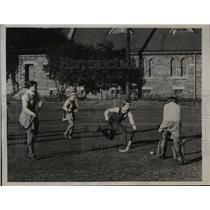 1936 Press Photo Eva Tazewell of Australia vs Scottish girls at field hockey