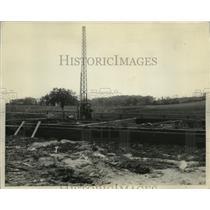 1927 Press Photo Foundation of bldg. & digger of Milwaukee Journal Radio Station