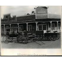 1964 Press Photo Horse Buggies in Front of Arkla Village Saloon, Arkansas
