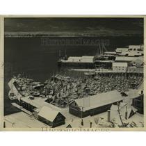1930 Press Photo Alaska Fishing Fleet at shelter in Ketchikan during snowstorm