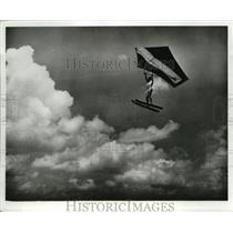 1961 Press Photo Don Seyze Soars Through Air Daredevil - ney15975